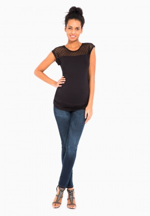 Maternity top with embellishment and 3/4 length sleeves
