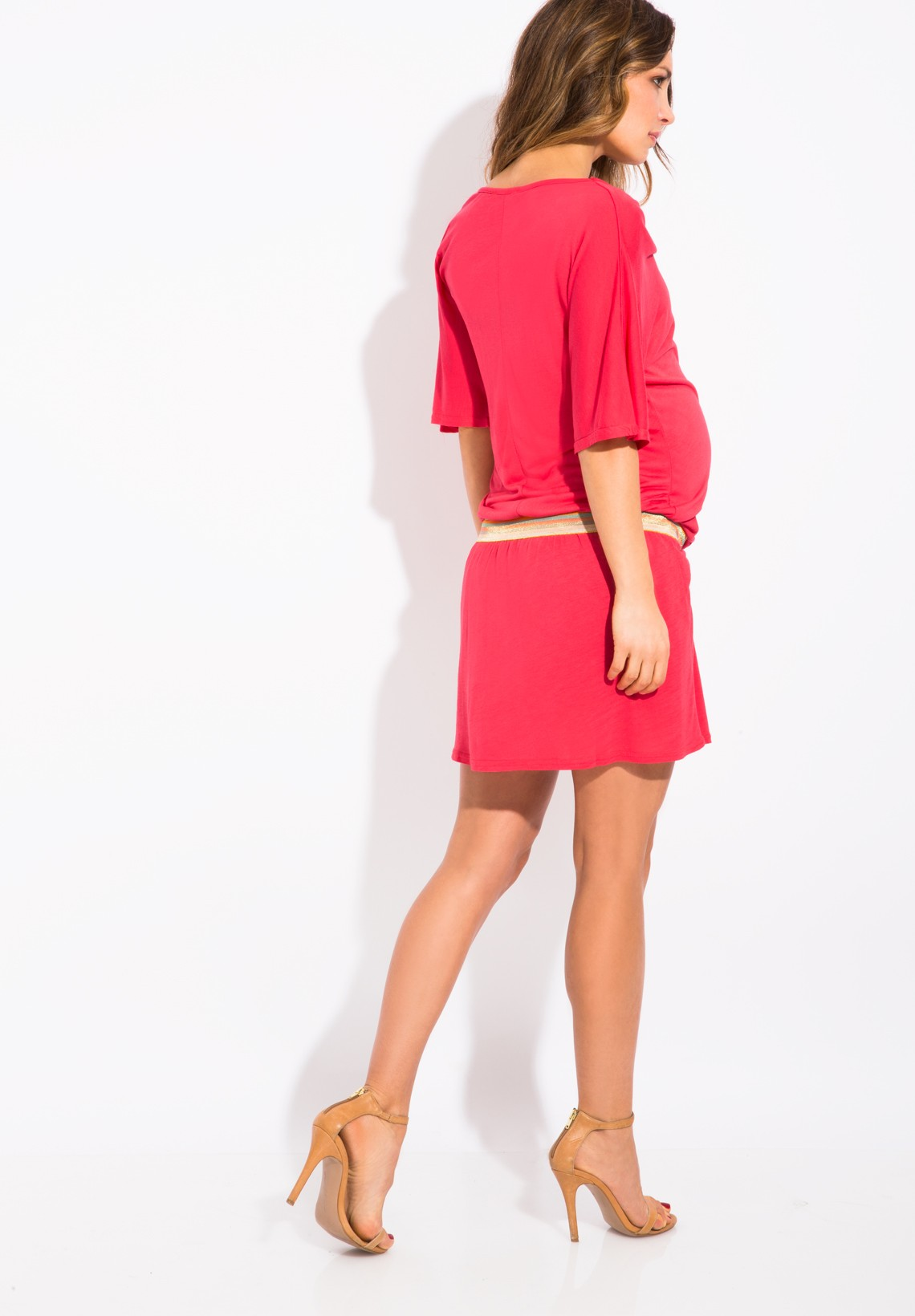coral maternity dress with multicolor belt