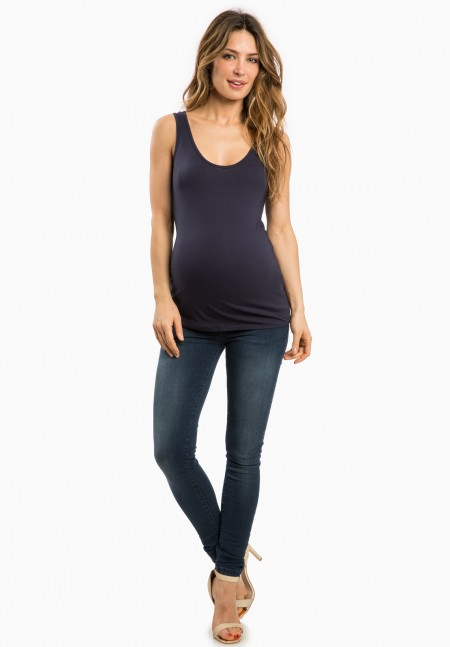 Navy blue cotton maternity tank top