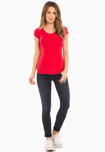 Tee-shirt grossesse manches courtes rouge