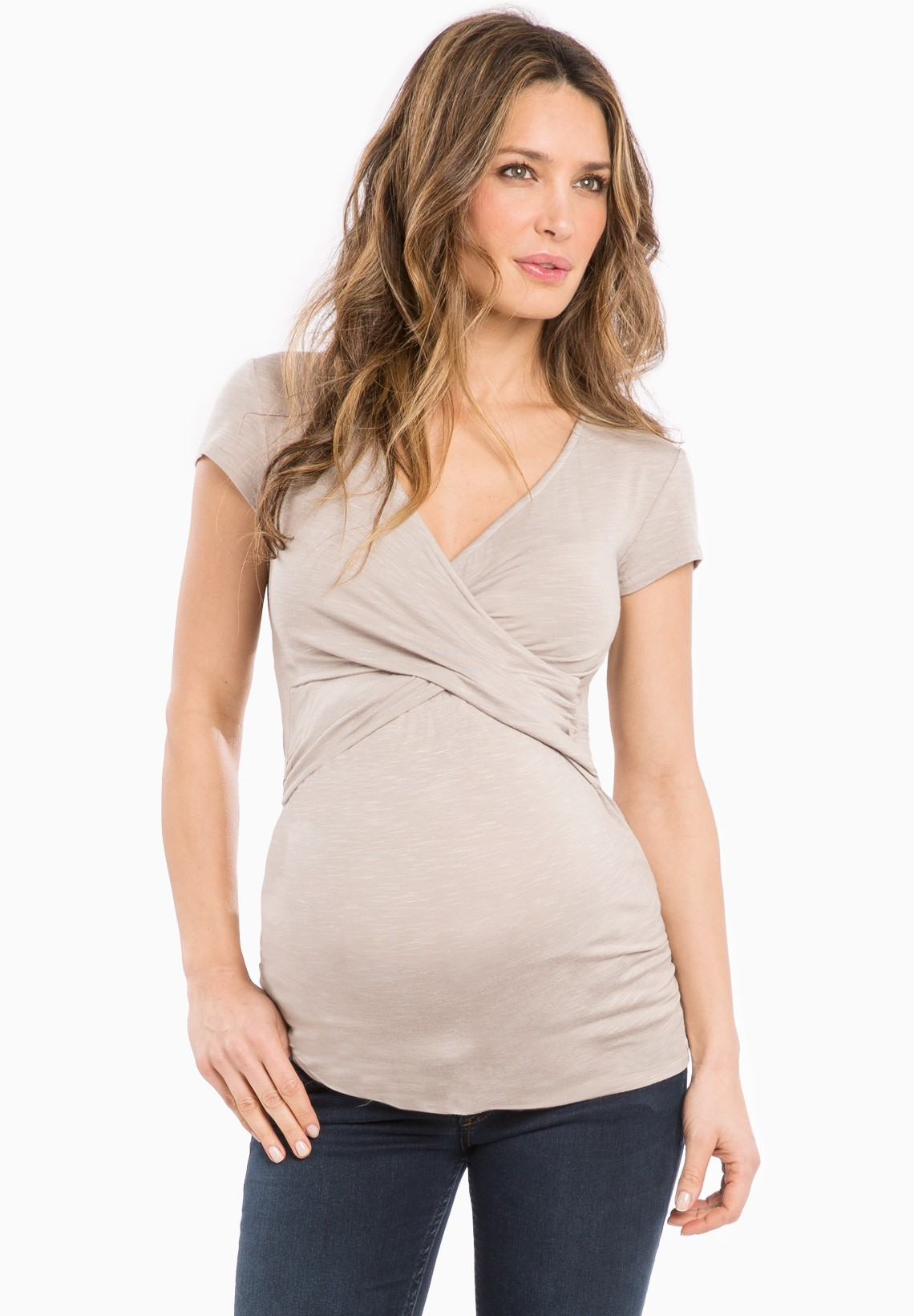 Dress up or go casual with our terrific collection of designer maternity tops at BellaBlu Maternity. We have warm weather sleeveless shirts, cute maternity tanks, short-sleeved pregnancy shirts for work or play and long-sleeved shirts for cold weather months.