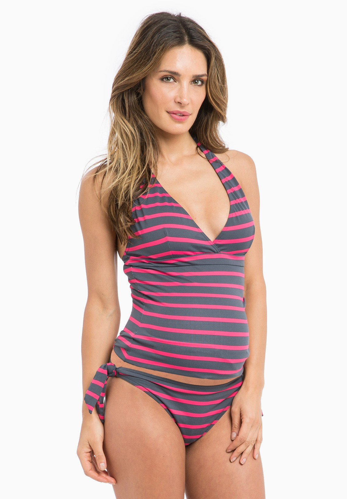 United Kingdom; Listed in: Maternity Swim Suits; Carrie 2-Piece Maternity Tankini. by Maternal America (Item #) Black. Alluring and sexy bandeau top features a halter, molded cups, and back closure for extra support. Low rise underbelly bikini bottom in solid pink to match, includes two adjustable side ties in tropical print for extra.