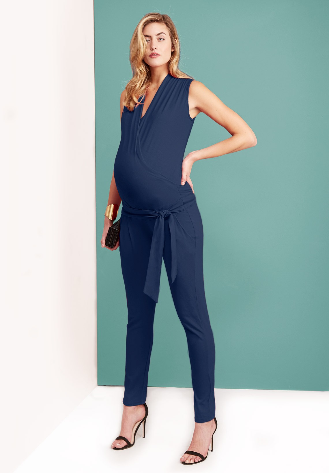 Maternity Jumpsuit Trisha Navy Tendencies Chinos Short 28