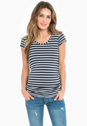 Tee-shirt grossesse rayé manches courtes
