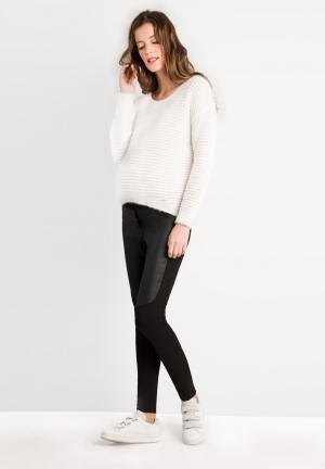 Jegging stretch coupe skinny empiècements effet cuir