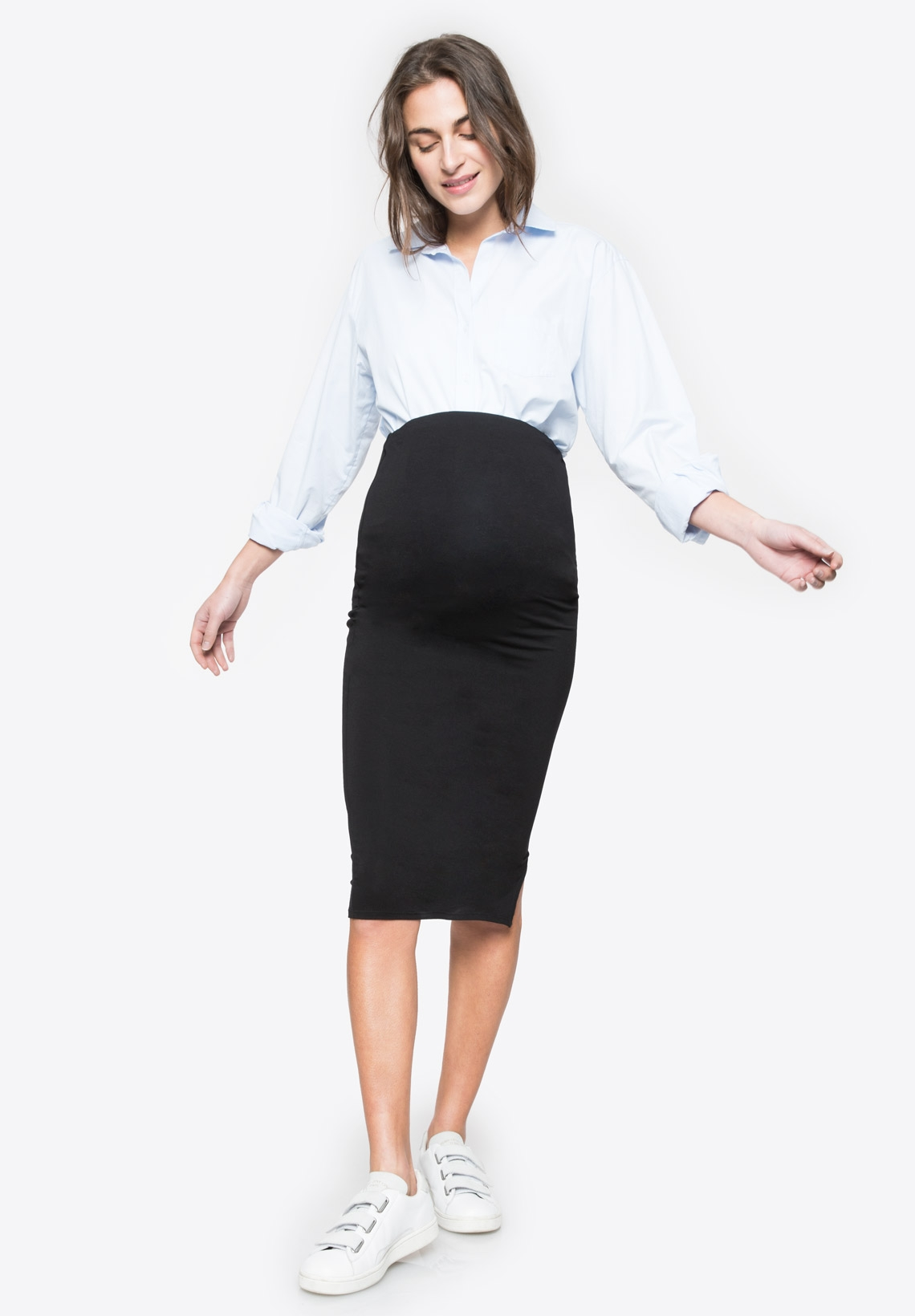 4c4d076c41 Maternity skirt with over belly band CINDY Black