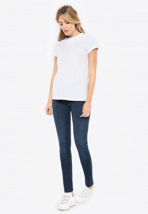 Power stretch deluxe skinny jeans with over belly band