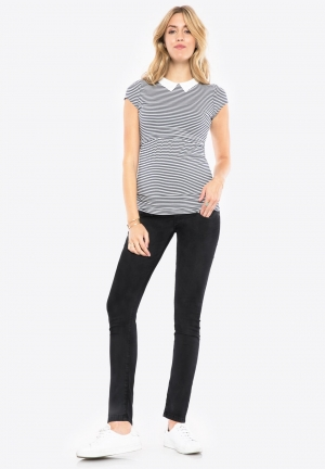 Skinny jeans powerstretch black over belly