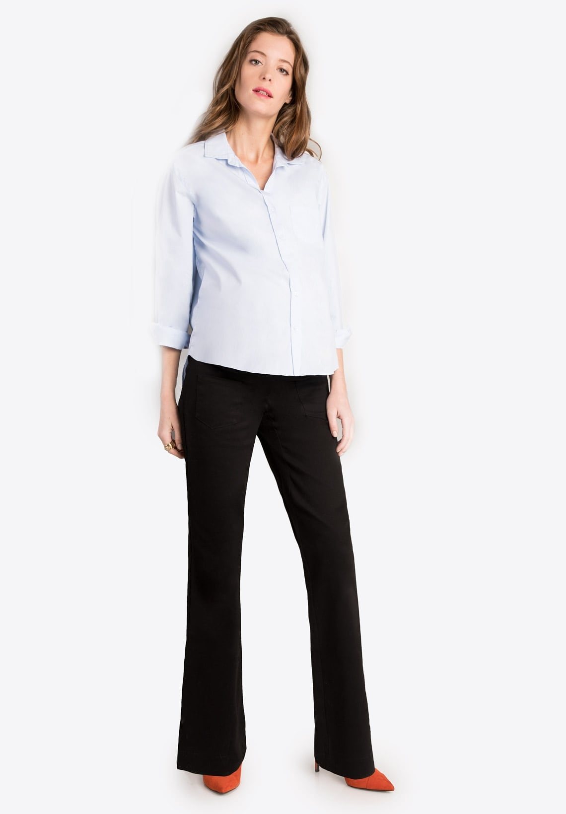 61447cb060ff4 Maternity pants with over belly band ADELYS Black