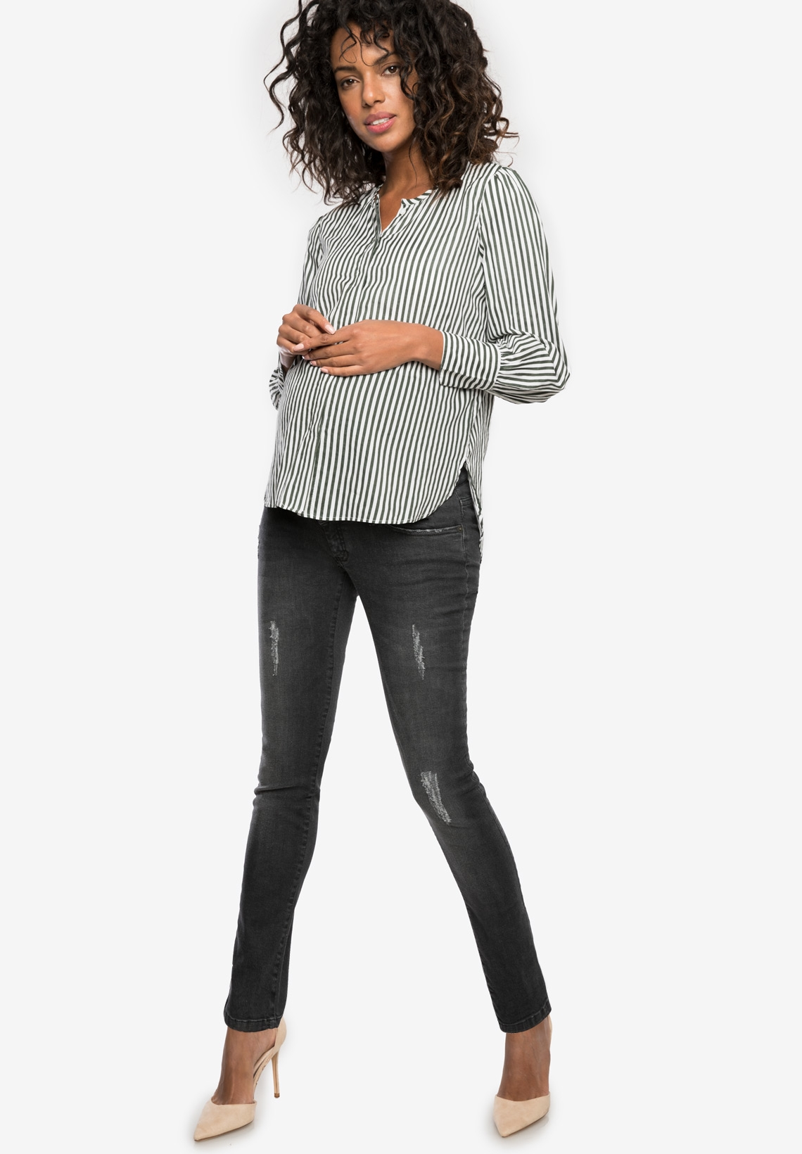 ea605c9d23736 CLINT DELUXE DESTROYED - Slim maternity jeans with over belly band - Envie  de Fraise ...