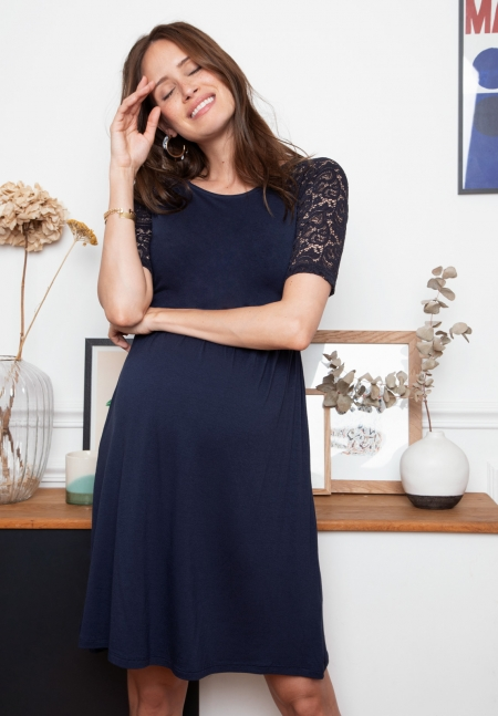EDWINA - Maternity dress with lace - Envie de Fraise